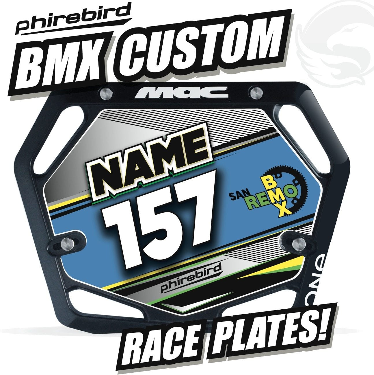 Custom BMX Race Plates Phirebird -